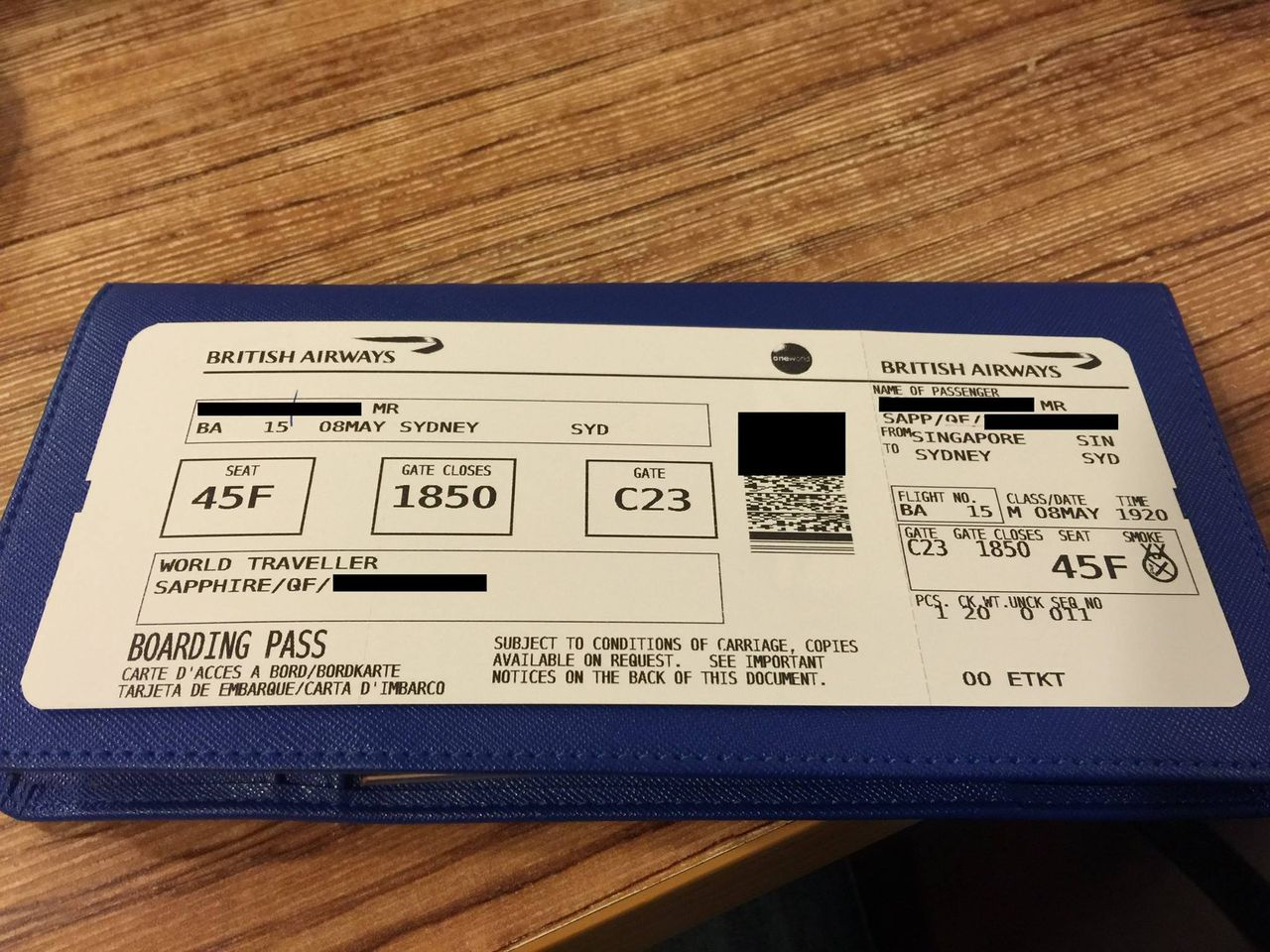 Review of British Airways flight from Singapore to Sydney in Economy