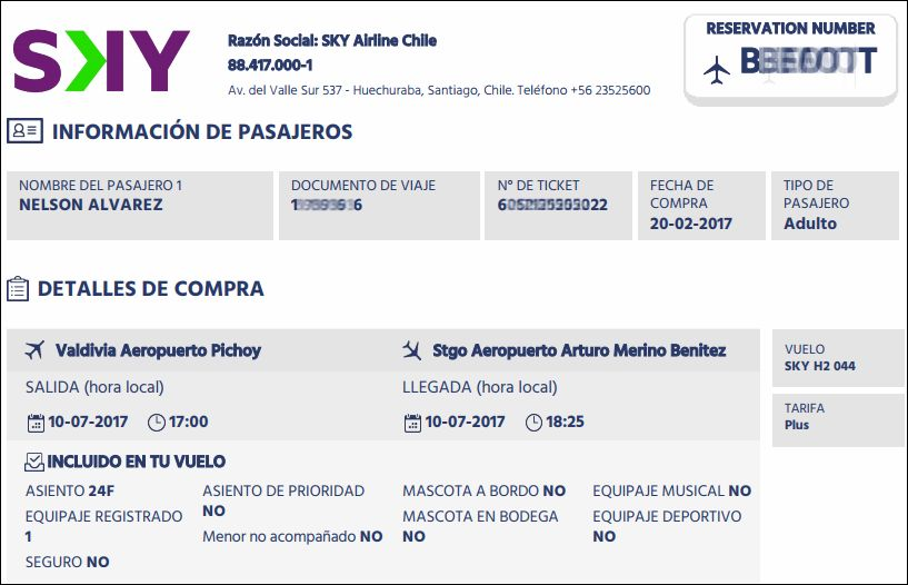 Review of sky airline flight from valdivia to santiago in for Airline tickets buy now pay later