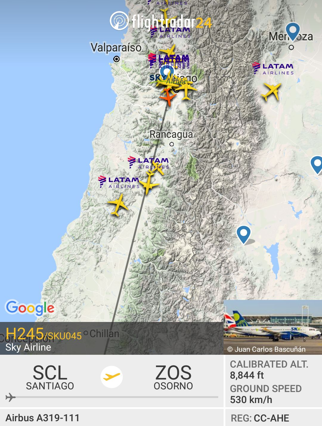 Review Of Sky Airline Flight From Osorno To Santiago In Economy - Osorno map